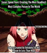 Antidote, Complex, and Memes: Sasori Spend Years Creating The Most Deadliest  Most Complex Poison In The World  NARUTO FACT  Sakura Created An Antidote ForHis  N Poison In Less Than Hour The Medical Prodigy     ~ Veenia