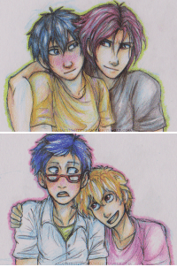Christmas, Target, and Tumblr: SASSINAND assassinandthecaptain:  I got some awesome new pencils for christmas so I decided drawing my favourite gay swimming dorks would be fun for practice. As per usual, these look a whole lot better irl