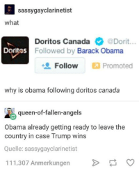 Sassy Gay: sassy gay clarinetist  what  Doritos Canada  @Dorit  Doritos Followed by Barack Obama  Follow  Promoted  why is obama following doritos canada  queen-of-fallen-angels  Obama already getting ready to leave the  country in case Trump wins  Quelle: sassygayclarinetist  111,307 Anmerkungen