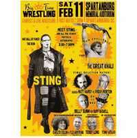 Memes, Wrestlemania, and Match: SAT  SPARTANBURG  BTW  tme  MENORRALAUDTORIM  FANFEST & LIVEWRESTLING FIRST MATCH730PMISPARTANBURG SC  MEET STING  AND ALL THE STARS!  PHOTOS &  M CHALLE  WEHALLOFFAMER  AUTOGRAPHS  THE ICON  5:30-7:30PM  7 FOOT  THE GREAT KHALI  FINAL DELETION MAT CHI  TING  MATT HARDY vs RICK,MORTON  D X  N WO  BILLY GUNNVS BUFF BAGNELL  BTW CHAMPIONSHIP MATCH!  BTW GUEST  MR. USA NACTIONI  COMMISSIONER  CARLTOCOLONISFIEARMSTRONG TEDDY LONG TONY ATLAS  CHALLENGER  CHAMPION For those of you who don't know, both owners of this account (Zane and I) will be going to Big Time Wrestling on February 11 to meet some cool cat wrestlers. We'll post all about our adventures on here so stayed tuned. And hey look the Great Khali is having an open challenge...😏😏😉😉 ~Travis wwe wweraw wwesmackdown wwenxt wwesuperstars wwedivas raw smackdown nxt superstars divas wwememe wwememes wweppv wwenetwork wweapp wwe2k17 wwelive wrestlemania thegreatkhali sting theshield goldberg brocklesnar sdlive royalrumble roadblock