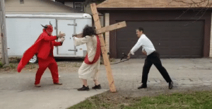 Satan rushes to the aid of Jesus Christ, a man being tortured by the townsfolk (circa 33 AD): Satan rushes to the aid of Jesus Christ, a man being tortured by the townsfolk (circa 33 AD)