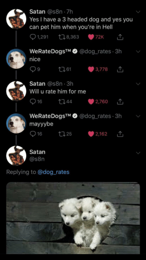 Satan being a wholesome dude: Satan @s8n 7h  Yes I have a 3 headed dog and yes you  can pet him when you're in Hell  1,291  t8,363  72K  @dog_rates 3h  WeRateDogsTM  nice  t161  3,778  9  Satan @s8n 3h  Will u rate him for me  16  t44  2,760  @dog_rates 3h  WeRateDogsTM  mayyybe  t25  16  2,162  Satan  @s8n  Replying to @dog_rates Satan being a wholesome dude