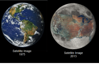 """Nasa, Respect, and Target: Satellite Image  1975  Satellite Image  2013 <p><a class=""""tumblr_blog"""" href=""""http://gamsee.tumblr.com/post/43587433076/forevertheuke-ipissedinyourmountaindew-real"""" target=""""_blank"""">gamsee</a>:</p> <blockquote> <p><a class=""""tumblr_blog"""" href=""""http://forevertheuke.tumblr.com/post/43587375993/ipissedinyourmountaindew-real-satellite-imagery"""" target=""""_blank"""">forevertheuke</a>:</p> <blockquote> <p><a class=""""tumblr_blog"""" href=""""http://ipissedinyourmountaindew.tumblr.com/post/43586005277/real-satellite-imagery-from-nasa-we-are-killing"""" target=""""_blank"""">ipissedinyourmountaindew</a>:</p> <blockquote> <p>Real satellite imagery from NASA</p> <p>We are killing out planet.</p> </blockquote> <p>No<br/>That's just the united stated photoshopped on the moon.</p> </blockquote> <p>no thats our dying planet have some respect</p> </blockquote>"""