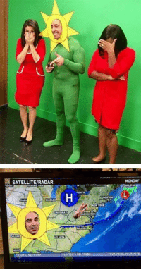 Memes, Mondays, and Http: SATELLITERADAR  ATLANTA  MONDAY The local Weatherman's costume was on point!  Check out more awesome costumes - http://ebaum.it/awesome-costumes