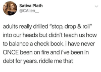 "Fire, Book, and How To: Sativa Plath  @CAlien  adults really drilled ""stop, drop & roll""  into our heads but didn't teach us how  to balance a check book. i have never  ONCE been on fire and i've been in  debt for years. riddle me that"