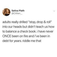 "Fire, Memes, and Book: Sativa Plath  @CAlien  adults really drilled ""stop, drop & roll""  into our heads but didn't teach us how  to balance a check book. i have never  ONCE been on fire and i've been in  debt for years. riddle me that Honestly this is a big vibe 💯💯💯(CAlien__ via @_theblessedone)"