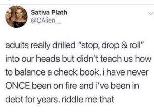 "Fire, Book, and How To: Sativa Plath  @CAlien  adults really drilled ""stop, drop & roll""  into our heads but didn't teach us how  to balance a check book. i have never  ONCE been on fire and i've been in  debt for years. riddle me that To be fair"