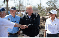 Memes, Hurricane, and Michael: SAUL LOEB/AFP/Getty lmages President @realdonaldtrump and @flotus toured neighborhoods damaged by Hurricane Michael with Governor @scottforflorida and DHS Secretary Kirstjen Nielsen on Monday.