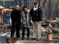 President Donald Trump surveys the damage from the Camp Fire in Paradise, Calif., with Gov. Jerry Brown and Paradise Mayor Jody Jones.: SAUL LOFB/AFP/Getty Images)  USA President Donald Trump surveys the damage from the Camp Fire in Paradise, Calif., with Gov. Jerry Brown and Paradise Mayor Jody Jones.