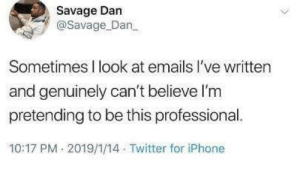 Dank, Iphone, and Savage: Savage Dan  @Savage Dan  Sometimes I look at emails I've written  and genuinely can't believe l'm  pretending to be this professional.  10:17 PM 2019/1/14 Twitter for iPhone