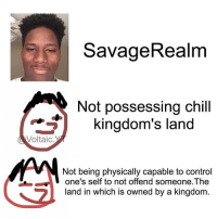 @Voltaic.yt 😂😂😂😂😂: SavageRealm  Not possessing chill  kingdom's land  Voltaic  Not being physically capable to control  one's self to not offend someone The  and in which is owned by a kingdom @Voltaic.yt 😂😂😂😂😂