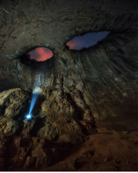God, Target, and Tumblr: savageslayingsnake4lyfe: sixpenceee: Prohodna is a karst cave in north central Bulgaria. The cave is known for the two eye-like holes in its ceiling, known as the Eyes of God or Oknata. From here Let us not forget about this iconic image