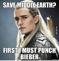 SAVE MIDDLEEARTHP  FIRST MUST PUNCH  BIEBER  memes. COM