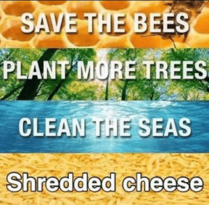 seas: SAVE THE BEES  PLANT MORE TREES  CLEAN THE SEAS  Shredded cheese