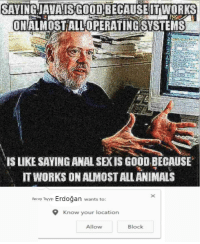 Anal Sex, Dank, and Meme: SAVINGJAUAISGOOD BECAUSEITWORKS  ONALMOSTALL OPERATINGSYSTEMS  IS LIKE SAYING ANAL SEX IS GOOD BECAUSE  IT WORKS ON ALMOST ALLANIMALS  Recep Tayyip Erdoğan wants to:  Know your location  Allow  Block danktoday:  Dennis Ritchie releases Java meme 2.0 ♨️ by stendinator MORE MEMES