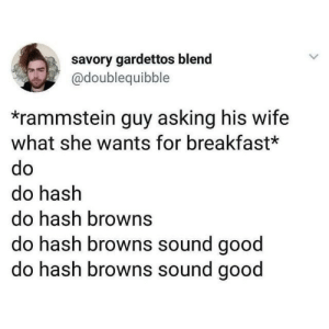hash: savory gardettos blend  @doublequibble  *rammstein guy asking his wife  what she wants for breakfast*  do  do hash  do hash browns  do hash browns sound good  do hash browns sound good