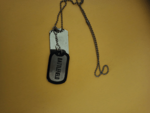 Saw another guy with a battlefield dog tag. Atleast his was still intact: Saw another guy with a battlefield dog tag. Atleast his was still intact