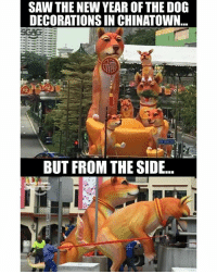 Memes, New Year's, and Saw: SAW THE NEW YEAR OF THE DOG  DECORATIONS IN CHINATOWN  BUT FROM THE SIDE... Damn, that just looks a little off