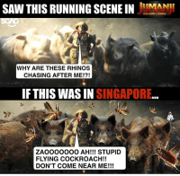 Click, Memes, and Saw: SAW THIS RUNNING SCEEINMAN  WELCOMEN JUNGLE  WHY ARE THESE RHINOS  CHASING AFTER ME!?!  IF THIS WAS IN SINGAPORE  ZAOOOOOOO AH!!! STUPID  FLYING COCKROACH!!  DON'T COME NEAR ME!!! HAHAHA this Jumanji scene <click link in bio to watch> totally reminds me when I'm running away from flying cockroaches!! Btw, we're having a JUMANJI LIVE CHALLENGE against @thesmartlocalsg, do stay tuned to see whether who will win on Thursday 630pm!!! sp