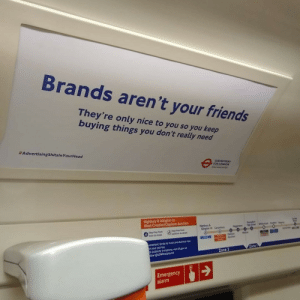 Saw this unauthorised advert on the train.: Saw this unauthorised advert on the train.