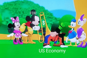 """Saw this while my toddler was watching Mickey Mouse Clubhouse and figured it'd be appropriate for """"printing money"""" memes. There's also a bike pump 5 minutes later, lol.: Saw this while my toddler was watching Mickey Mouse Clubhouse and figured it'd be appropriate for """"printing money"""" memes. There's also a bike pump 5 minutes later, lol."""