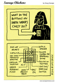 Doug, Savage, and Twitter: Sawage Chickens  by Doug Savage  WHAT Do THE  BUTTONS ON  DARTH VADER'S  CHEST Do?  ER  OPENER  HELMET  O8I WAN  PROXIMITY  DETECTOR  CONTROL FoR  BREATHING  SoUND  泻  8 FOLLOW ON  CAFFEINE  INJECTION AC  TWITTER.  LIGHT SIDE/  ORDER  DARK SIDE !  PEPPERONI Next/- AM  P 2ZAREOU SWITCH  TRACK  www.savagechickens.com <h2>Tantos botones&hellip; ¿pa qué?</h2>