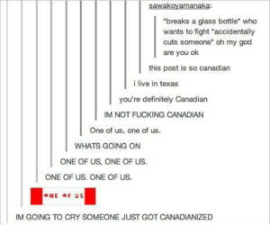 "Resistance is futile.omg-humor.tumblr.com: sawakoyamanaka:  *breaks a glass bottle"" who  wants to fight ""accidentally  cuts someone"" oh my god  are you ok  this post is so canadian  i live in texas  you're definitely Canadian  IM NOT FUCKING CANADIAN  One of us, one of us.  WHATS GOING ON  ONE OF US, ONE OF US.  ONE OF US. ONE OF US.  NE F US  IM GOING TO CRY SOMEONE JUST GOT CANADIANIZED Resistance is futile.omg-humor.tumblr.com"