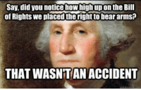 How High, Memes, and Bear: Say, did you notice how high up on the Bill  of Rights we placed the right to bear arms?  THAT WASNT AN ACCIDENT  quickmeme.com