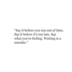 "say what: ""Say it before you run out of time.  Say it before it's too late. Say  what you're feeling. Waiting is a  mistake."