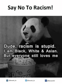 Black and White: Say No To Racism!  Dude, racism is stupid.  I am Black, White & Asian.  But everyone still loves me  @sarcastic Us  If @sarcastic Us  @Sarcasmlol