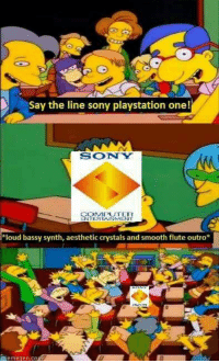 """Aesthet: Say the line sony playstation one!  SONNY  CONAE PEUTER  NTERTAINMENT  *loud bassy synth, aesthetic crystals and smooth flute outro""""  Aemegen, CO"""
