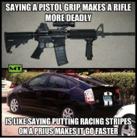 Gun control advocates really are a special bunch.. #Murica: SAYING APISTOLGRIPMAKES A RIFLE  MORE DEADLY  MU  SLIKESAYINGPUTTING RACING STRIPES  ONA PRIUS  MAKESITGO FASTER Gun control advocates really are a special bunch.. #Murica
