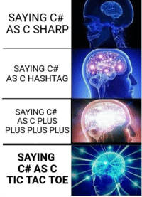 True, Sharp, and Hashtag: SAYING C#  AS C SHARP  SAYING C#  AS C HASHTAG  SAYING C#  AS C PLUS  PLUS PLUS PLUS  SAYING  C# AS C  TIC TAC TOE am a true intellecetual