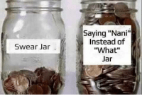 "Invest, Nani, and Via: Saying ""Nani""  Instead of  ""What""  Swear Jar <p>Weebs from this subreddit, unite and INVEST! via /r/MemeEconomy <a href=""https://ift.tt/2sakFGE"">https://ift.tt/2sakFGE</a></p>"