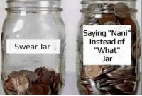 "Nani, What, and Saying: Saying ""Nani""  Instead of  ""What""  Swear Jar"