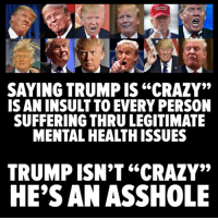 """Crazy, Memes, and Trump: SAYING TRUMP IS""""CRAZY""""  IS AN INSULT TO EVERY PERSON  SUFFERING THRULEGITIMATE  MENTALHEA THISSUES  TRUMP ISN'T """"CRAZY""""  HE'S AN ASSHOLE"""