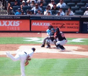 Puig imitated the Venezuelan Little Leaguers batting stance 😍: SBEISBOL.COM  YANKEES.COM/TICKETS  XXIS  IND  AN OFFICIL TIRE OF THE  EW Y RK YANKEES  MAXXIS  TIRE  TIRES Puig imitated the Venezuelan Little Leaguers batting stance 😍