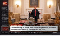 Andy Reid, Donald Trump, and Football: SC  Andy Reid looking  forward to KFC  Championship game  BREAKING NEWS  Zion Williamson  takes dump  THIS JUST IN  Zion Williamson  breathes  Jon Gruden trades  Kyler Murray before  even drafting him  Bears sign Kareem  Hunt as new kicker  Alshon Jeffery signs  endorsement deal  with Butterfingers  BREAKING NEWS  Donald Trump to serve Taco Bell to Super Bowl champion  President will reportedly make Mexico pay for it  Steelers WR Antonio Brown out 4-6 weeks after suffering bruised ego  Clemson visits  White House  @NFL MEMES Zoom in at everything 😂 https://t.co/A2OLk8IBpg