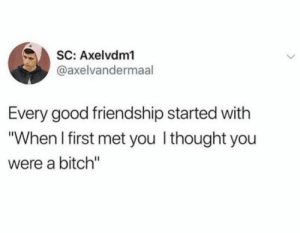 """Bitch, Good, and Friendship: SC: Axelvdm1  @axelvandermaal  Every good friendship started with  """"When I first met you Ithought you  were a bitch"""""""