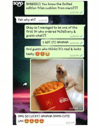 This Macs cushion looks so tasty, even the dog is tempted by it!!: SCAG  S  BABEEE!!! You know the limited  edition fries cushion from macs???  6:27 PM  Yah why ah?  6:28 PM  Okay so i managed to be one of the  first 30 who ordered McDelivery &  guess what??  6:28 PM、//  I GOT IT! HAHAHA629 P  And guess who thinks it's real & looks  tasty e  6:29 PM  UBER  6:29 PM  OMG SO LUCKY! HAHAHA DAMN CUTE  LAHe  6:30 PM This Macs cushion looks so tasty, even the dog is tempted by it!!
