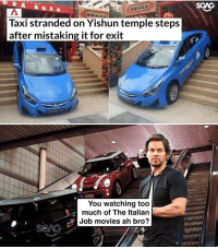 Memes, Movies, and Too Much: SCAG  Taxi stranded on Yishun temple steps  after mistaking it for exit  You watching too  much of The Italian  Job movies ah bro? Wah uncle power lah!