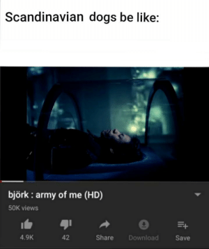 Epicly: Scandinavian dogs be like:  björk : army of me (HD)  50K views  4.9K  42  Share  Download  Save Epicly