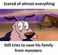 Family, Memes, and 🤖: Scared of almost everything  Still tries to save his family  from monsters https://t.co/pPuwjpXJwn