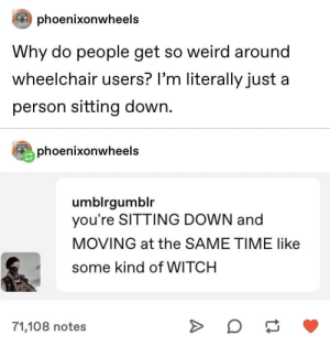 Scared of wheelchair users: Scared of wheelchair users