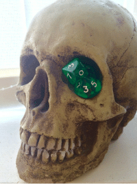 scarfmonster: Previous tenant left a skull in my room, and as I have an unhealthy obsession with dice…I had to recreate the soul gem'd skull. : scarfmonster: Previous tenant left a skull in my room, and as I have an unhealthy obsession with dice…I had to recreate the soul gem'd skull.
