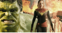 """Cute, Memes, and Scarlett Johansson: Scarlett Johansson describes a cute moment between Brie Larson's Captain Marvel and The Hulk in AVENGERS 4! http://bit.ly/2k8ud3I  """"Hulk is standing next to her and Joe Russo told her to put her hand in front of Mark [Ruffalo]'s face to stop him, and she's like, """"In front of his face?"""" And they explained, """"that's where his chest is,"""" and she looks up and yells, """"I'm new! I'm new!"""" I'm like, """"damn, girl.""""  (Andrew Gifford)"""