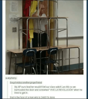 """Teacher, Euro, and Live: scarymerry  My AP euro teacher wouldn't let our class watch Les Mis so we  barricaded the door and screamed VIVE LA REVOLUCION"""" when he  tried to get in  that is the face of a man who is 24601% done LONG LIVE THE REVOLUTION"""
