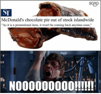 "McDonalds, Memes, and Soon...: SCAS  ST  McDonald's chocolate pie out of stock islandwide  ""As it is a promotional item, it won't be coming back anytime soon,""  SGAG  NO00000000!!!!! I should've eaten more when I had the chance.."