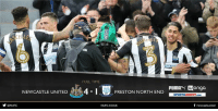 FULL TIME - Newcastle United 4-1 Preston North End  The Magpies have done it and victory at St. James' Park sends Newcastle United back to the Premier League!  Reaction to come at www.nufc.co.uk! #NUFC: SCELLE  NEWCASTLE UNITED  @NUFC  FULLTIME  PIUMAN Wonga  4-1  PRESTON NORTH END  SPORTSDIRECT.coM  f newcastleunited  NUFCCOUK FULL TIME - Newcastle United 4-1 Preston North End  The Magpies have done it and victory at St. James' Park sends Newcastle United back to the Premier League!  Reaction to come at www.nufc.co.uk! #NUFC
