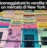 Blade, Club, and Fight Club: Sceneggiature in vendita il  un mercato di New York.  NIGHTCRAWLERT  OVE & MERCY  BEAUTY& THE BEAST  Testework oran  THE FIIIITTN OUR STARS.  RRIDESMAIDS  GIRr SICAI Breakfast Ar Tirrany's  A-INTOThE WOOD TRAINWRECK  HEN HARRY MET SALLY  LIANA ovED TRUE ROMANCE  THE ON GAME  RESERVOIR DOC  BLADE RUNNER  THE MARTIAN  Eternal Sunshine of The Spotless  The Godfather I  HUNGER GAMES  THE HATEFUL  Fight Club  THE GODFATHER  PULP FIC  DIANO  The Wolf  THE CITY  UNCHA  OF WALL STREET.  Instagram.gom  EM  va  THE WOLF  BIG  OF WALL STREET Le voglio tutte, compresa quella selvaggia di Hunger Games TheHungerGames TheWolfofWallStreet DjangoUnchained AClockworkOrange FightClub PulpFiction TheGodfather BladeRunner ReservoirDogs IvanHpEw